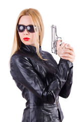 Woman with gun isolated on the white