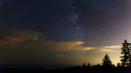 Time Lapse of Milky Way with Clouds and Stars in Portland OR