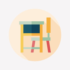 Vintage school desk flat icon with long shadow,eps10