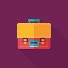 briefcase ,school bag flat icon with long shadow,eps10