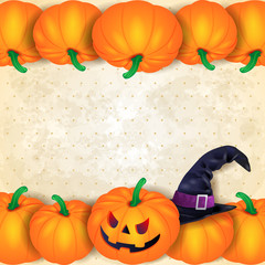 Halloween background with borders of pumpkins and hat