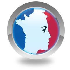 Marianne  tricolore et carte de France sur bouton