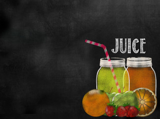 fruit Juicing theme chalkboard blackboard with copy space
