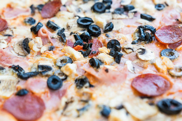 Pepperoni Pizza Close Up With Mushrooms, Olives And Chili Salami