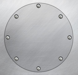 Circle metal plate with rivets