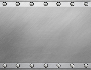 Polished metal plate with rivets