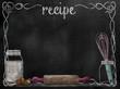 Leinwandbild Motiv Chalkboard Recipe background with baking items
