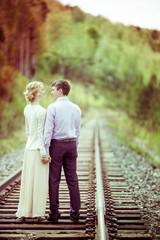 couple on the railway