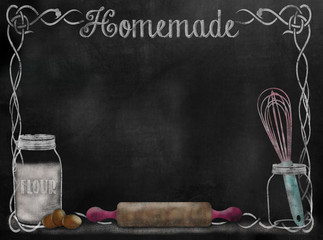 Chalkboard Recipe background with baking items