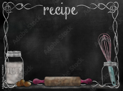 Tuinposter Koken Chalkboard Recipe background with baking items