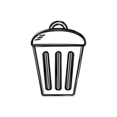 Vector of sketch doodle, trashcan icon on isolated background