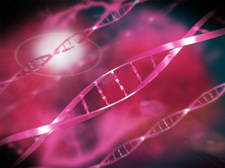 ADN rouge avec fond abstrait
