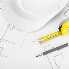 Construction helmet with pencil and measure tape - 1 to 1 ratio