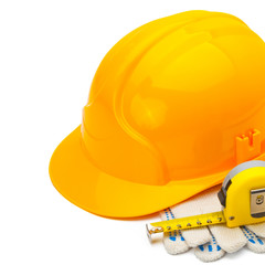 Construction helmet with measure tape and gloves - 1 to 1 ratio