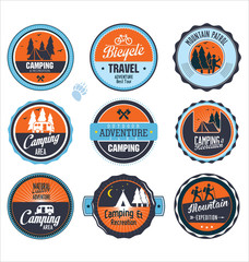 Set of outdoor adventure blue and orange retro labels
