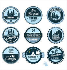 Set of outdoor adventure blue labels