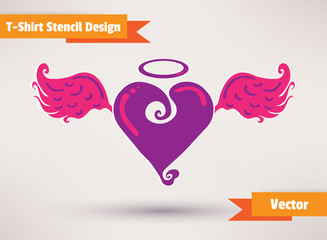 Heart with wings. T-Shirt Stencil Design vector illustration.