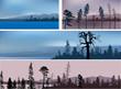 set of four mountains dark landscapes