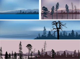 set of four mountains dark landscapes