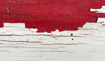 Old paint on a wood , red and white