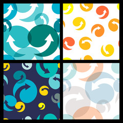 Set of seamless colorful patterns. Abstract  arrow and circle