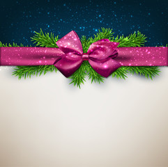 Christmas background with purple bow.