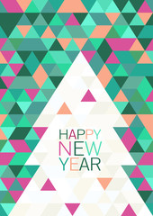 Christmas or New Year abstract geometric background. Greeting ca