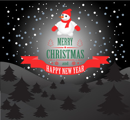 New year and Christmas card with a snowman