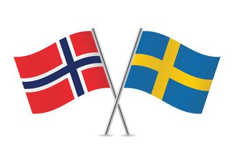 Swedish and Norwegian flags. Vector illustration.