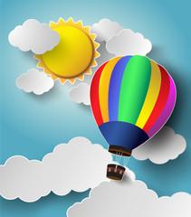Hot air balloon high in the sky with sunlight.Vector illustratio