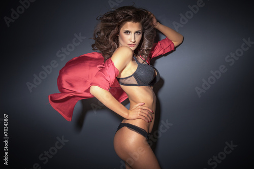 canvas print picture Sensual brunette lady posing