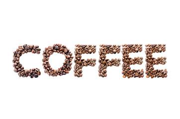 scritta fatta con chicchi di caffè