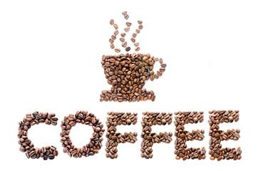 tazza di caffè e scritta fatti con chicchi di caffè