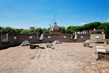 Medieval cannons in the tower of Castel Sant'Angelo, Rome, Italy