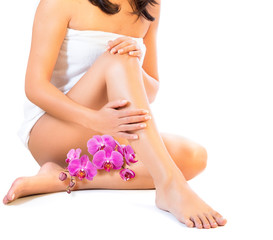 body and care legs with orchids