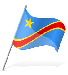 flag of Democratic Republic of Congo vector illustration
