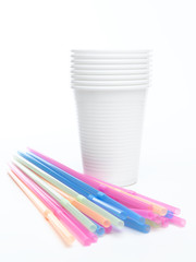 Plastic cup with straws