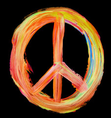 hand painted peace sign on black