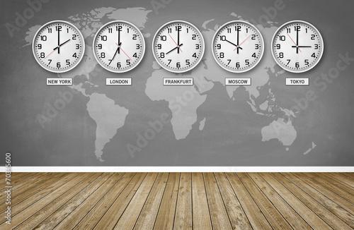 Leinwanddruck Bild Weltzeiten / Zeitzonen