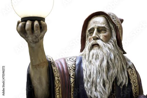 Poster Merlin statue speel medieval druid