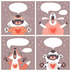 Set of cards with funny animals.