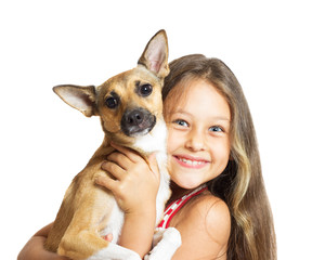 portrait of a girl with a dog in her arms