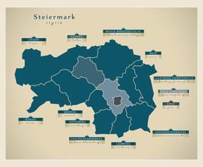 Moderne Landkarte - Steiermark AT