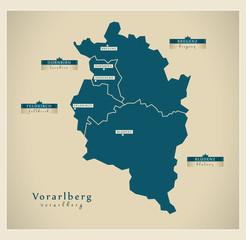 Moderne Landkarte - Vorarlberg AT