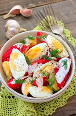 Tomatoes and eggs salad