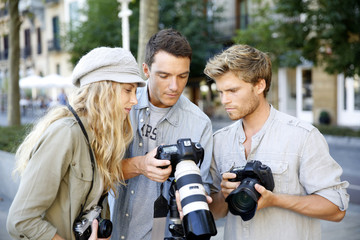 Young photographers on training shooting day