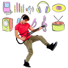 Image with colorful musical world