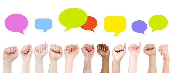 Fists with colourful speech bubbles