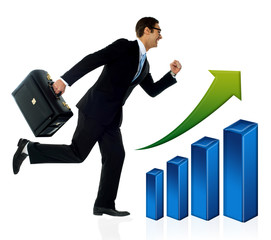 Businessman in running posture, growth concept.