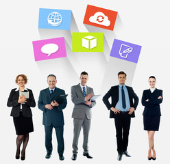 Business collage, latest technology icons